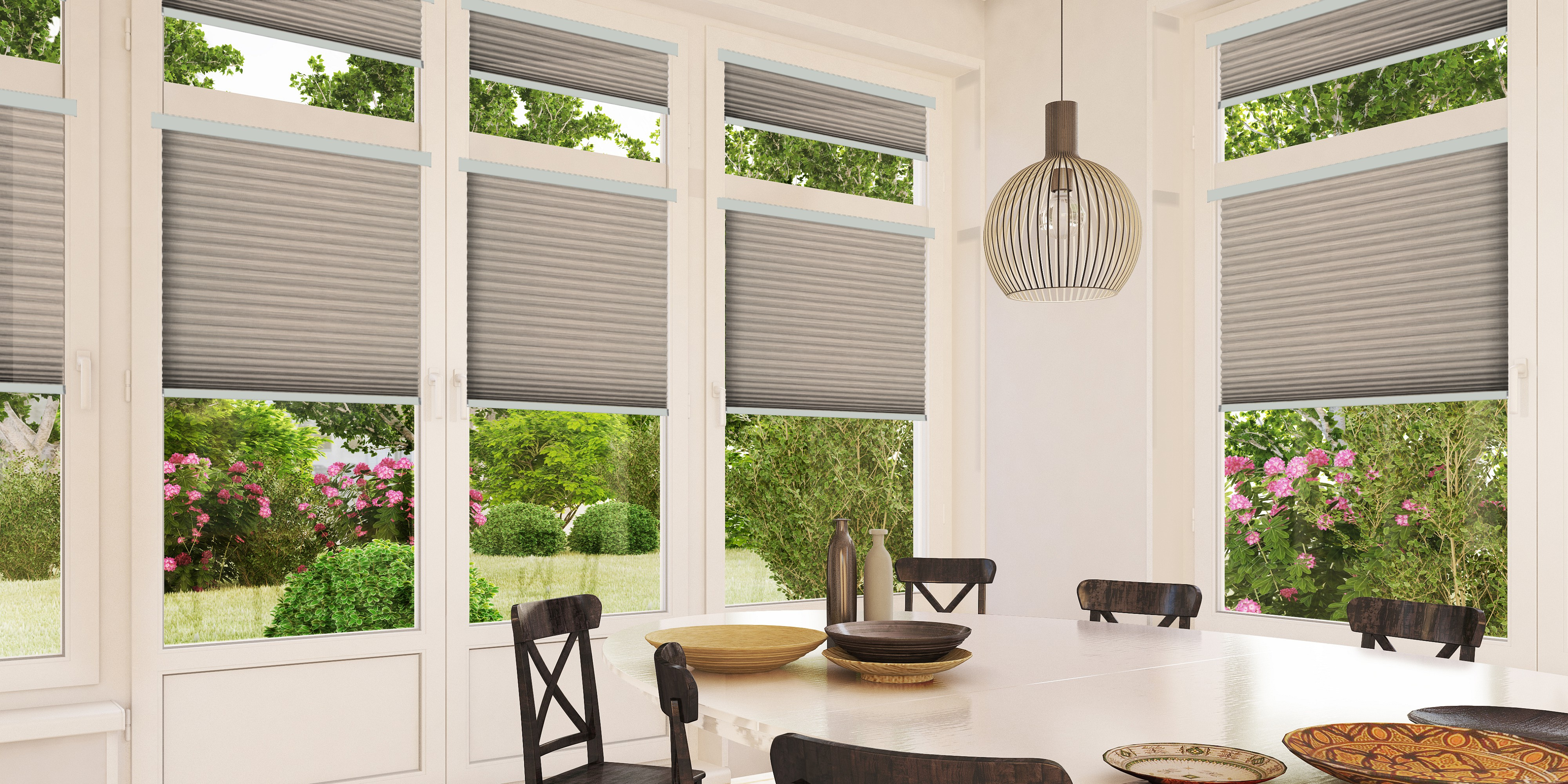 INTU Blinds Mineral Fawn Pleated Dining Room Blinds