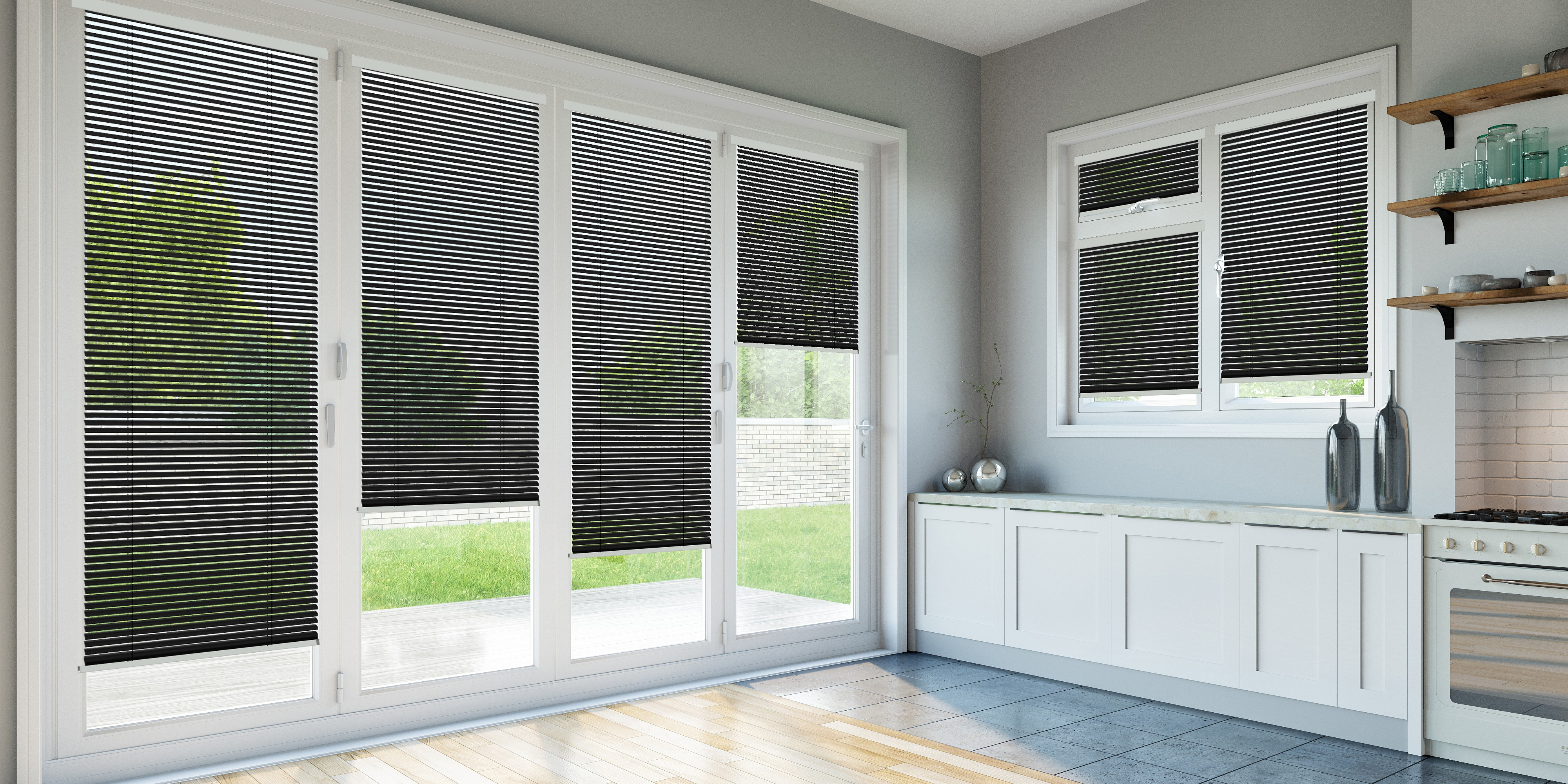 INTU Blinds Satin Black Venetian Kitchen Blinds