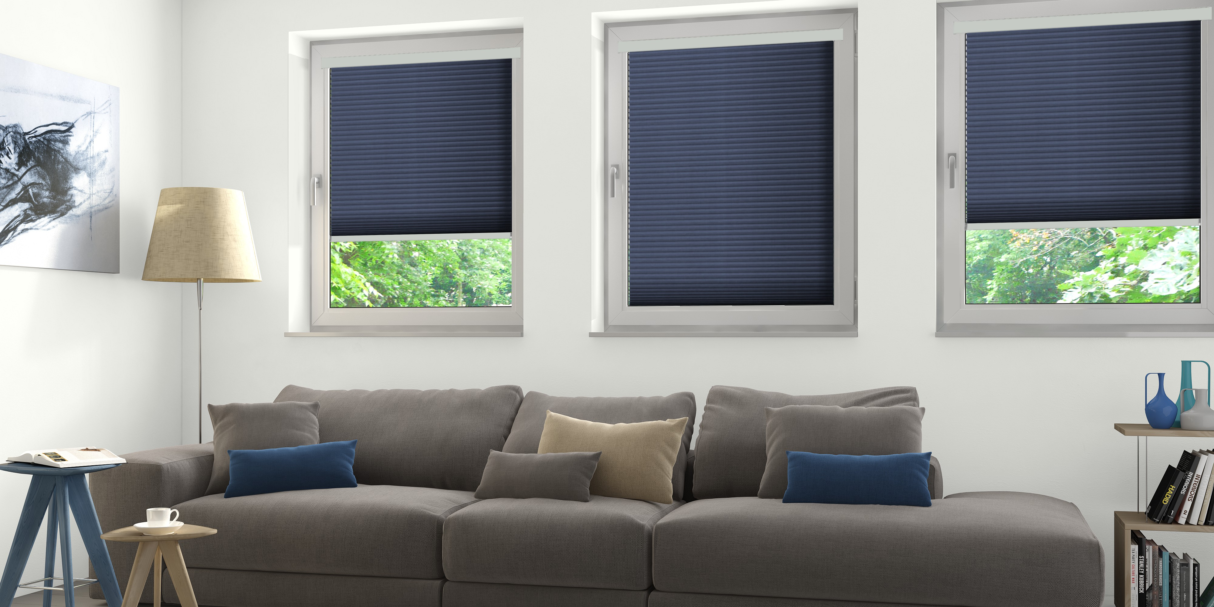 INTU Blinds Hive Deluxe Midnight Blue Living Room Blinds