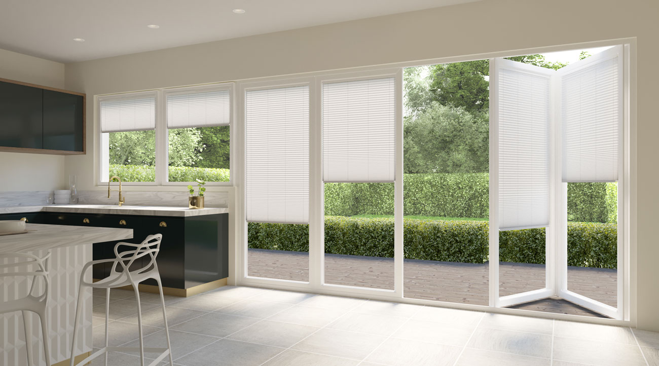 INTU Blinds White Pleated Kitchen Blinds